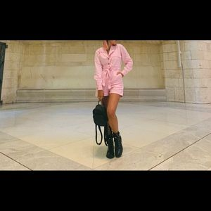 Pink long sleeve romper